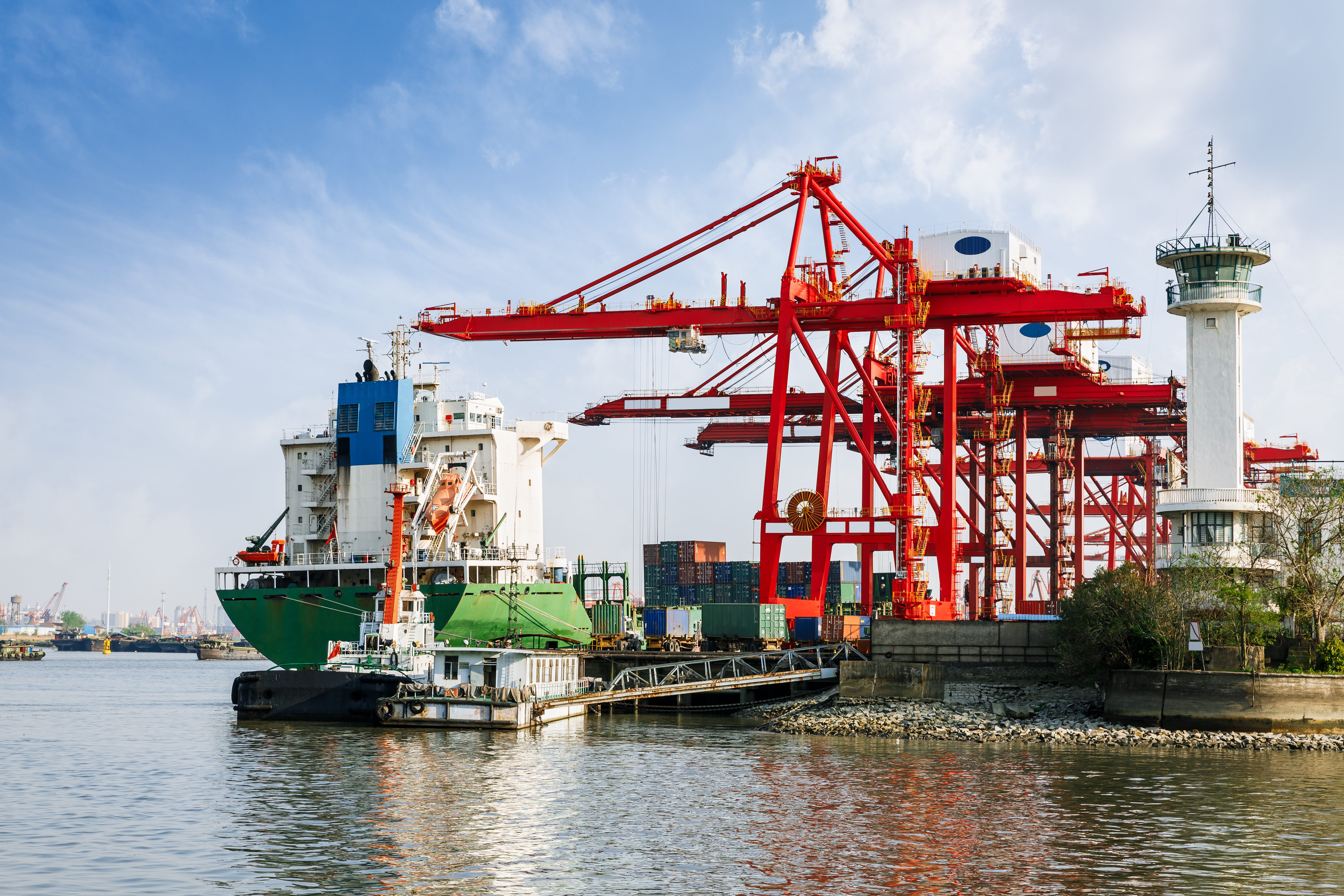 Industrial container freight Trade Port scene